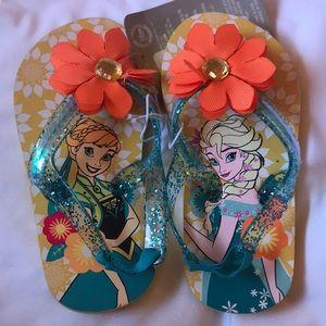 NWT Disney Store Frozen flops w/ankle strap